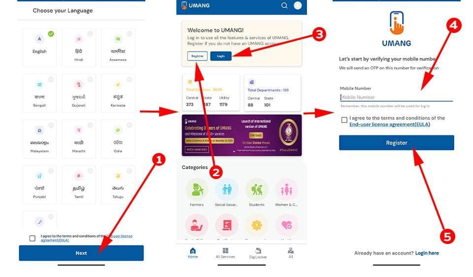 Registration in umang app